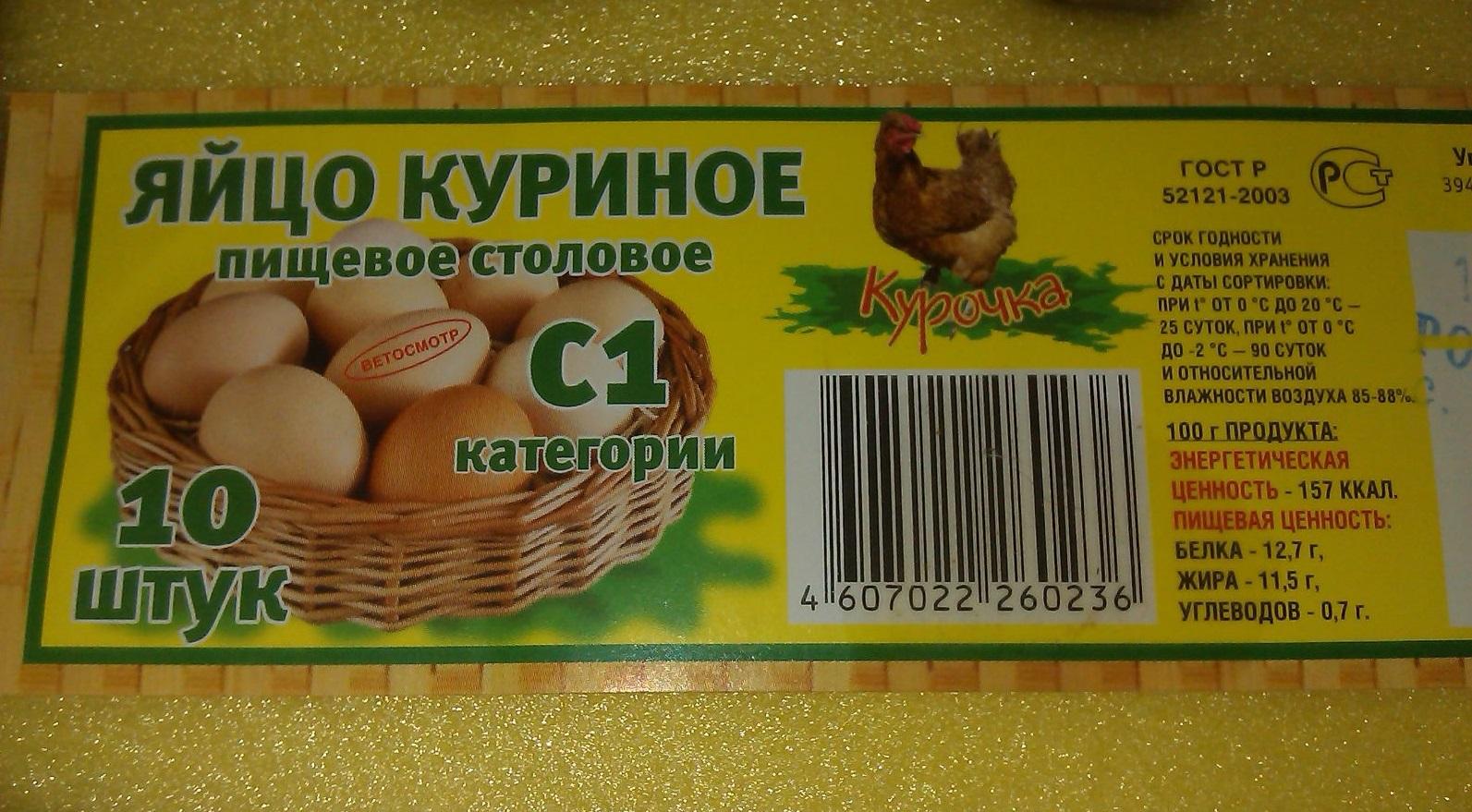 Упаковка от яиц с указанием сроков годности